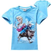 2014 Boy Frozen Tshirt Children T-shirts Girls Boys T-shirt Wholesale Children's Frozen Short Sleeve T-shirt 6pcs/Lot Free Ship