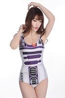 Harajuku swimsuit one piece Robot digital 3D printing Sexy Bikini milk silk swimwear women SM006