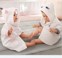 2014 free shipping Retail 100% Cotton Bathrobe children Pajamas robe kids cute cartoon hoofy wear solid towel 90-130 cm