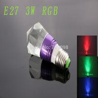 E27 3w RGB Crystal LED Light Purple Bulb With IR Remote Controller  (85V-265V)