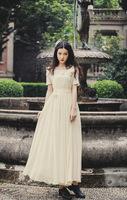 wholesale 2014 Summer Vintage slim waist chiffon swing hem dress ladies dress