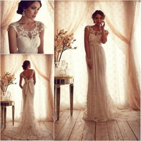 High Fashion 2014 Scoop Short Sleeves Lace Wedding Dresses Factory Vestidos Longos Winter Bridal Gowns for Women High Quality