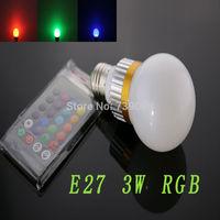 E27 3w RGB  LED Light Bulb  With IR Remote Controller  (85V-265V)