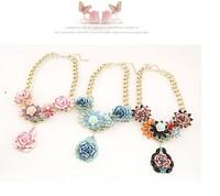Latest  Euramerican Dazzling Rose Flower Water-drop Metal  Necklace  Lady Fashion Brand Party Jewelry MYL984/85/86