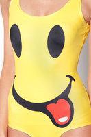 2015 New swimsuit one piece Harajuku Star Digital Printing yellow cartoon smile face swimwear women SM009