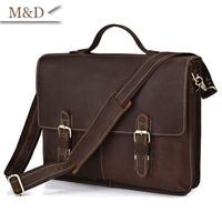 Vintage Men Briefcase 100% Genuine Leather Portfolios Business Bag Office Handbags