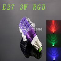 E27 3w RGB Crystal LED Light Purple ChristmasTree Shape Bulb With IR Remote Controller (85V-265V)