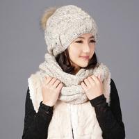 Women's sheep knitted hat scarf muffler one piece big fox winter ball handmade cap sleeve