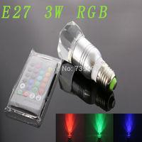 E27 3w RGB Crystal LED Light Silver Bulb With IR Remote Controller (85V-265V)