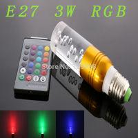 E27 3w RGB Crystal LED Light Gold Bulb With IR Remote Controller (85V-265V)