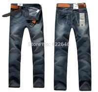 Men's clothing slim straight denim trousers male autumn and winter mid waist plus size true jeans men  (616)