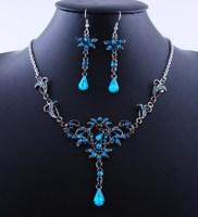 Retro Choker Tassel Acrylic Flower Blue Woman Statement Necklace Earring Set Jewelry