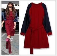 Big size women's 2014 autumn knit stitching dress Women waistband knee-length dresses long-sleeved winter dress Plus size 4XL5XL