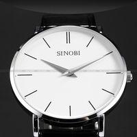 Fashion SINOBI Unisex Mens White Dial Leather Quartz Sport Analog Wrist Watch