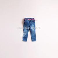 Sun fashion female child j - pink strap love button slim jeans trousers