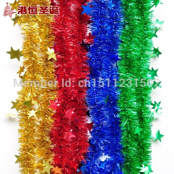 крытый рождественские украшения 200x5cm малого пять- звезда твердых 28g ленты рождество мишура