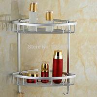 Space Aluminium Dual Lier Bathroom Basket Coner Shelf Rack Hook for Shower Soap Shampoo Bathroom Storage Accessories organizador