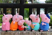 "Free shipping 6pcs/set 7.5""-11.8"" Pepa Pig Plush Toys Peppa + Georger +Daddy +Mummy +Grandma +Grandpa baby & Kids birthday gift"