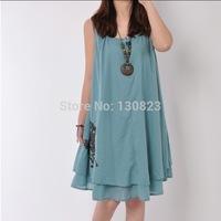 Vestido De Renda Empire Casual Free Shipping Dress Vestido De Festa Summer 2014 New Fashion Large Size Cloth Leisure Solid Color