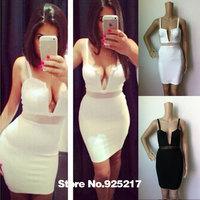 Cut out mesh spaghetti straps v neck sexy women 2014 new arrival hl bandage dress celebrity dresses White/Black