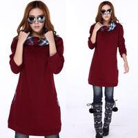 2014 New Autumn Plus Size M L XL XXL 3XL 4XL Thicken Pullover Sweatshirt Medium-Long Loose Winter Dress Womens Outerwear Blouse