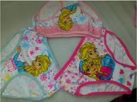 Wholesale 3pcs/lot mixcolor baby girl cotton underwear children underpants kids cartoon panties frozen elsa girls briefs