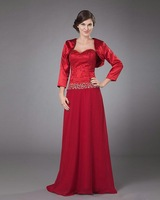Free shipping! MBD028 Three Quarter Beaded Red Chiffon Floor Length Sexy Mother of the Bride Dresses vestido de madrinha