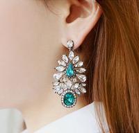 Fashion Ethnic Crystal Oval Leaf Channel Earring Vintage Silver Brincos Grandes Dangle Drop Earrings for Women Jewelry
