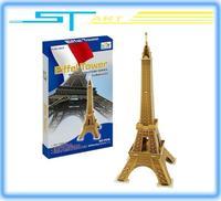 2pcs/lot  D102 3D puzzle paper craft Eiffel Tower DIY 3D three-dimensional puzzle Building model Educational Toy free sh boy toy