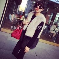 2014 fur vest in the women's imitation fur coat vest imitation fox fur long hair long grey black stitching vest