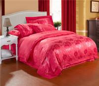 silk jacquard bedding set 4pcs red rose design,king/queen,duvet cover/comforter set/bedspread/bedclothes/bed linen/pillowcases