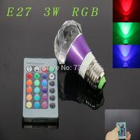 E27 3w RGB Crystal LED Light Purple Ball-shaped Bulb With IR Remote Controller (85V-265V)