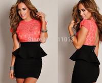 Brand new desigual dresses women peplum dress slim hip package lace dress M XL XXL plus size