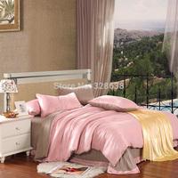 100% Tencel Lyocell comforter bedding sets solid pink & coffee bed linen bedclothes quilt/mattress/duvet cover set roupa de cama