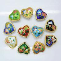 10 PCS Mixed Heart Shape Butterfly Flower Pattern Cloisonne Beads 18*20*8mm