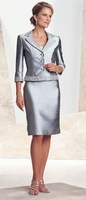 Free shipping! MBD052 Three Quarter Beaded Silver Satin Outfit Sexy Mother of the Bride Dresses with Jacket vestido de madrinha
