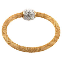 """Brand New Charm 18K Plated Gold  network Chain With Whiter Crystal Beads Magnet Clasps 7.6"""" Stainless Steel"""