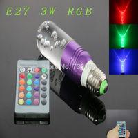 E27 3w RGB Crystal LED Light Purple Ham-shaped Bulb With IR Remote Controller (85V-265V)