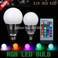 Free Shipping  E27 E14 9W/30W AC85-265V RGB  led Bulbs Lamp with Remote Control Multiple Colour LED Lighting