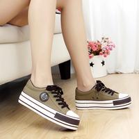 Platform canvas shoes female 2014 platform low casual flat lacing
