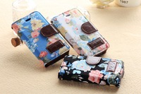 2014 new design cell phone cases floral color printing wallet card slots stand flip leather case cover skin shell for iPhone4 4S