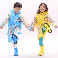 2014 new boys and girls thickened children raincoat with schoolbag place free shipping  kids students raincoat set hot sale.