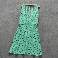 2014 New Fashion Women Casual Dress Green Print Silm Waist Summer Dress Women All-match One-piece Dresses Brand Dress LJZ016