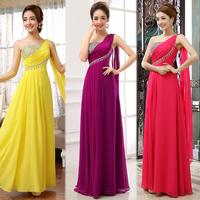 One shoulder candy color women's dress slim design long female evening dress one shoulder party dress with crystal decoration