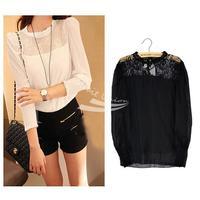 Fashion Vintage Elegant Ladies Women's Chiffon Long Sleeve Shirt Blouse 2 Colors