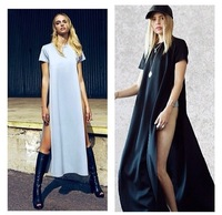 Celebrity Bandage Evening Long Dresses Summer New 2014 Vintage Geometric   Party Women's  Two Side Split Maxi Dress