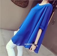 Summer Half Sleeve Chiffon Maternity Clothing Pregnant Women Irregular Hem Blouse Plus Size Shirt