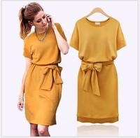 Women summer dress 2014 new big size fat woman loose asymmetric hem dress Brif O-nack bowtie belt solid casual dresses plus size