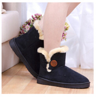 2014 new snow boots genuine rabbit fur women's cotton shoes boots free shipping