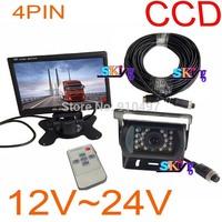 "12v~24V Night Vision CCD Reverse Backup Camera 4PIN 18 IR LED+ 7"" LCD Monitor Car Rear View Kit Free 10m cable For BUS Motorhome"